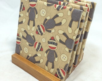 "HANDMADE ""Sock Monkey"" Drink Coasters 