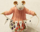Peaches is A Needle Felted Mouse Wearing A Peach Knit Sweater And Floral Skirt