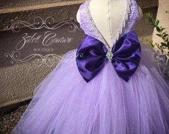 Flower Girl Dress - Lace Dress - Big Bow Dress -Wedding Dres- Girls Lace Dress -  Purple - Lavander Valencia Dress by zulettcouture