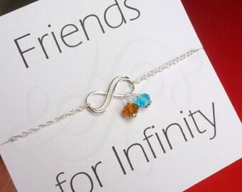 Friendship Double Infinity Bracelet with Birthstones, Personalized Double Infinity Bracelet, Best Friend Gift, Best Friend Birthday, Jewelry