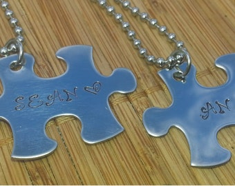 Couples Jewelry Puzzle Piece Name Necklace keyring Set - romantic valentine's his & hers gift