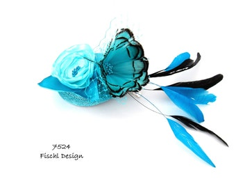 Noble small hat fascinator wedding sinamay, blossom, feathers, tulle, turquoise black 7524