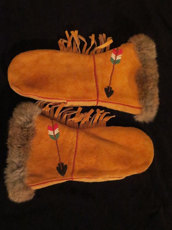 Native American Beaded Mittens For Men Or Women Moose Elk