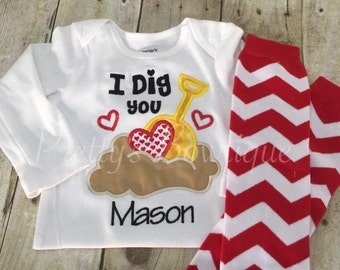 I dig you Valentine's Day outfit  Shirt and Leg warmers boy.  Valentines boys shirt