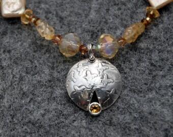 SALE  Sunny Citrine Gemstone Necklace
