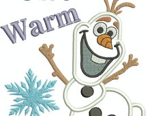 Frozen Olaf I Give Warm Hugs Appliqué design, Machine Embroidery, Embroidery pattern, Valentines, Machine Embroidery Design
