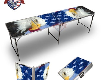 Custom Patriotic Bald Eagle Graphic 8 Ft Tailgate Table