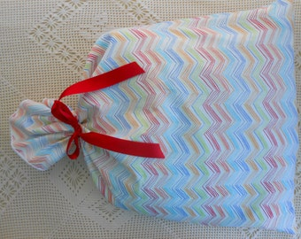 "Chevron Gift Bag, Rainbow lines on white 15"" x 21""  Reusable, All or Special Occasion birthday fabric cloth gift wrap bags easy"