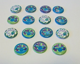 Cute Set of 15 Teal and Purple Pretty as a Peacock Set 1 Inch Flat Back Embellishments Buttons Flair