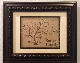 Burlap Family Tree, Anniversary Gift, Houseware, Wall Decor, Mother's Day