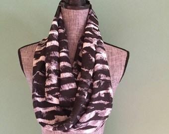 Black Purple and White Zebra Print Infinity Scarf
