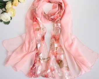 Pink flower print silk sheer scarf mother's day gift