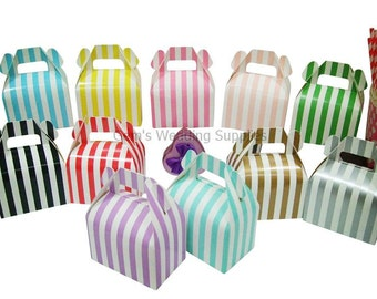 12 x Striped Gable Boxes Wedding Party Favour Lolly Bomboniere Gift Box Supplies