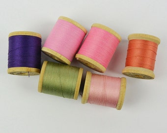 Vintage 50s Wooden Thread Spools / BELDING CORTICELLI Mercerized Cotton Threads / Tiny Wood Thread Spools / Set of 6 Sewing Thread #15