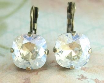 clear crystal earrings,square earrings,swarovski earrings,crystal earrings,crystal leverback earrings,12mm square earrings,moonlight crystal