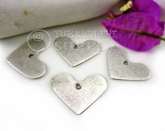 4 pc Silver Heart Charms, Antique Silver Plated Brass Minimalist Heart, Turkish Jewelry