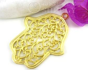 Large Hamsa, Hand of Fatima Filigree Pendant, Matte 22K Gold Plated Turkish Jewelry