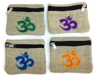 "Natural Embroidered Hindu ""Om"" Hemp Mala Bags"
