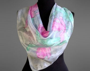 Hand painted silk scarf. Square silk scarf. Silk shawl scarf with tulips. Grey and pink silk scarf. 27x27 in (70x70 cm). Made to order.