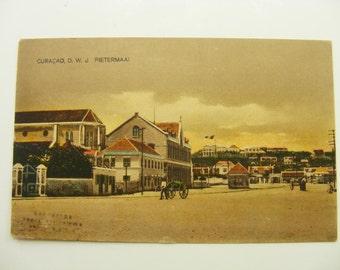 Antique 1900s Curacao Postcard, D.W.J. Pietermaai ,Huisvlijt , 1900 Queen Wilhelmina Stamp Netherlands, RPPC