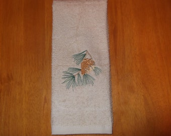 Embroidered ~PINECONE~ Kitchen Bath Hand Towel