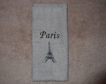 Embroidered ~PARIS EIFFEL Tower~ Gray Kitchen Bath Hand Towel