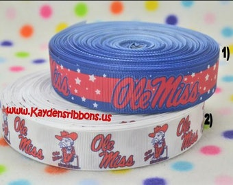 3 yards Ole Miss - University of Mississippi 1 inch - Printed Grosgrain Ribbon CHOOSE DESIGN