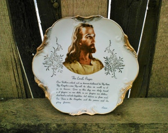 "Beautiful Vintage Lords Prayer Wall Hanging Decorative 7"" Plate 18k Gold Trim 1950's Made in Japan"