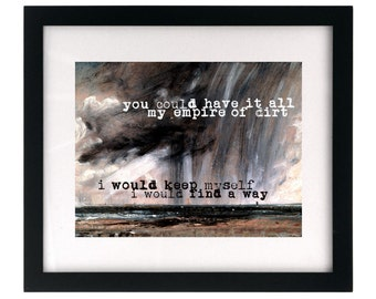 Nine Inch Nails/Johnny Cash - Hurt.  Song Lyric Art Print wall hanging, home decor