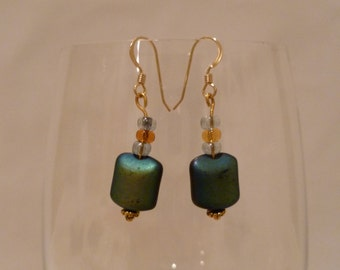 Drop down earrings with dual tone square bead