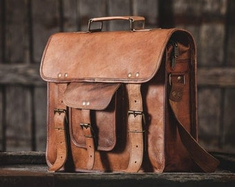 "Leather Messenger Bag 15""  / Air Plane Cabin Bag / Briefcase / Handbag / Satchel / Shoulder Bag / iPad / Hip Bag"