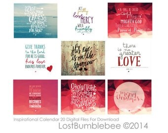 20 Inspirational Digital Files for Printing Your Own Calendar : Instant Download Bible Scripture