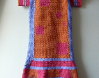 Colourful crochet dress /// High quality acrylic yarn crocheted dress // knitted like dress ///