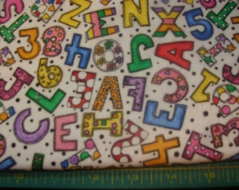 Letters and Numbers on White Cotton Flannel