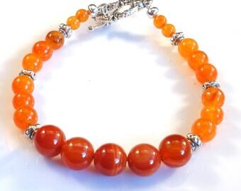 Tangerine Orange and Silver Women's stackable bracelet, stacking bracelet, statement bracelet, beaded bracelet