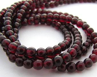Brown Garnet 4mm Smooth Round Czech Glass Beads 100pc #668