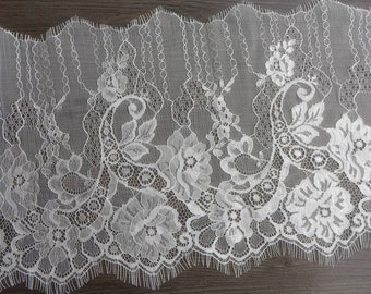 White Lace Trim, Wedding Lace Trim, Gorgeous White Chantilly Lace Fabric Trim
