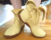 Handmade Moccasins, Ankle Boots, Handsewn, Hippie, Boho, Gypsy, Fairy, Elf Shoes, Woodland, Natural, Earthing, Grounding