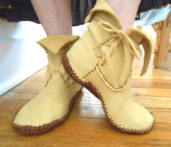 Handmade Moccasins Ankle Boots Handsewn Hippie Boho