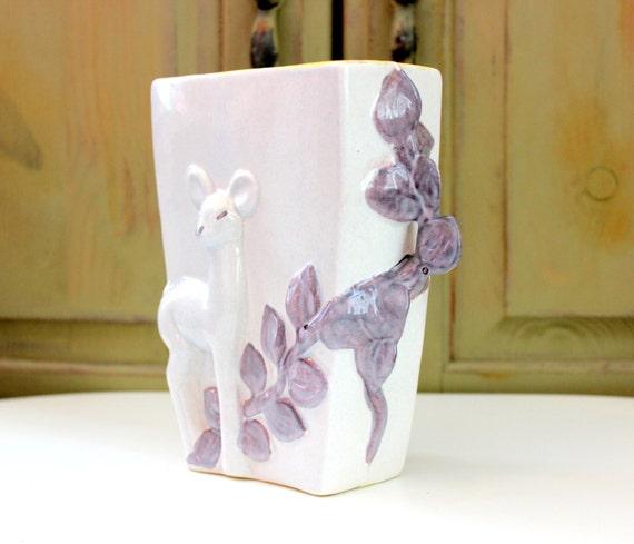 Vintage red wing pottery vase deer fawn leaf by iguanafindit