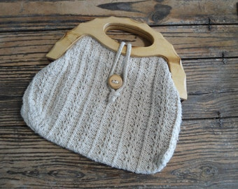 Vintage Crocheted Summer Cream clutch Wooden Handles and Button Closure Cottage Chic