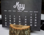 2015 Chalkboard Desk Calendar with Natural Wood Stand