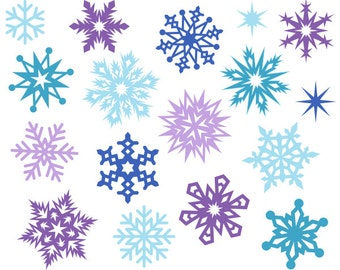 Christmas Snowflakes Cute Digital Clipart, Christmas Clip Art, Xmas Clipart, Snowflake Clipart - Instant Download - YDC003