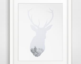 Deer Art, Snow Decor, Deer Head Art, Winter Decor, White Animal Head, White Deer Head, Winter Decorations, Printable, Deer Print