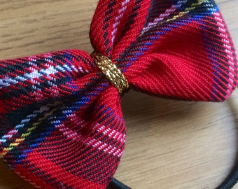 Handmade Tartan Ponytail Hair Bow With Gold Detail