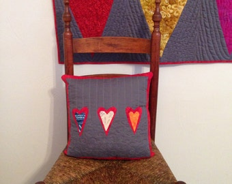 Hearts on Grey Pillow