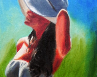 Summer time. Girl in a hat. Sunshine. Original painting. oil on canvas. 8 x 10