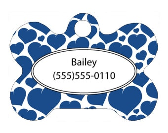 Pet Tag, Dog Tag, One Sided Personalized Pet ID Tag, Bone Shaped Pet Tag, Aluminum, Blue Hearts Design