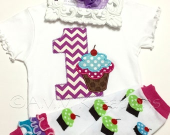 Personalized Birthday Cupcake Applique with Leg Warmers and Headband