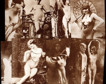 1950-60 Set of Eight Different Risque Nude French Post Cards